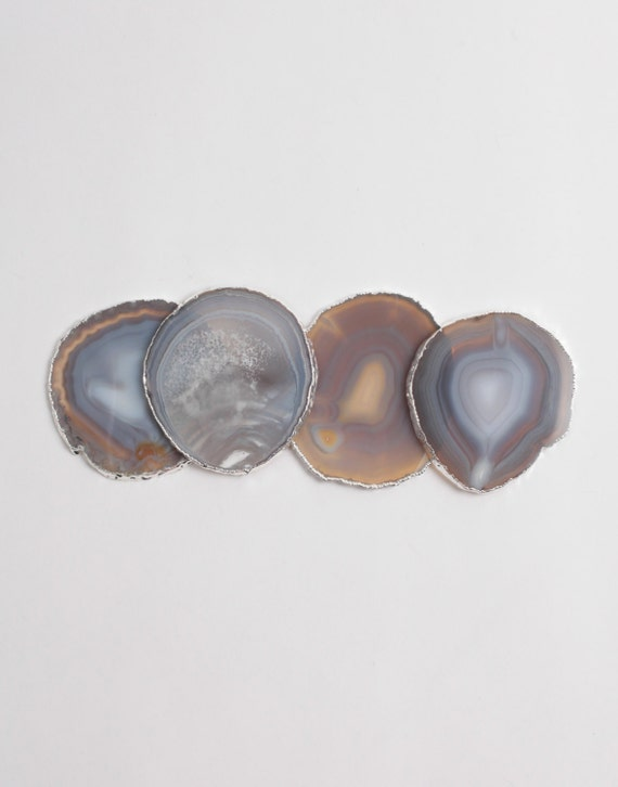 Silver Rim Agate Coasters Srna748 Home Bar Decor Natural Geode