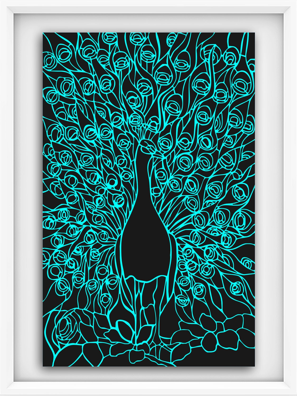 Peacock Silhouette Stained Glass Window Svg Dxf Cutting