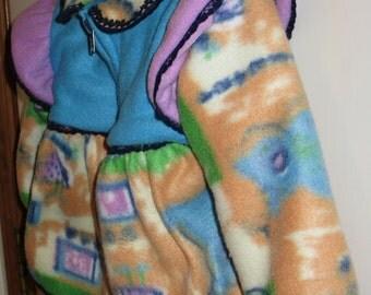 Girls Fleece Pullover Zipper Jacket - 18 Month - Rocking Horse -Ruffels - Lace Trim-  Girls Clothing - Baby Clothes - Toddler fleece Hoodie