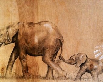 Where You Lead, I Will Follow (Mother Elephant and Calf)