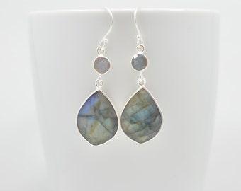 Labradorite Earrings, Labradorite Drop Earrings, Labradorite Dangle Earrings, Labradorite Silver Earrings, Labradorite Long Dangle Earrings