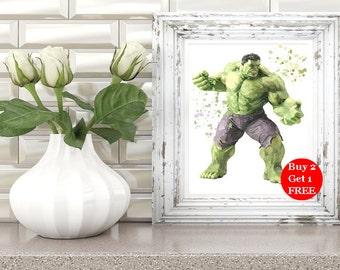 Hulk, hulk printable, hulk print, hulk wall art, marvel superhero, hulk watercolor, hulk wall decor, hulk gifts, avengers, hulk marvel