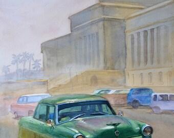Car painting, Watercol painting, Watercolor landscape, Original artwork, Vintage car painting