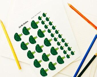 Broccoli Stickers, Eat Me! Series, Broccoli Art Sticker, Planner Sticker, Weekly Stickers, Erin Corden, Vegetable Series, Brocooli