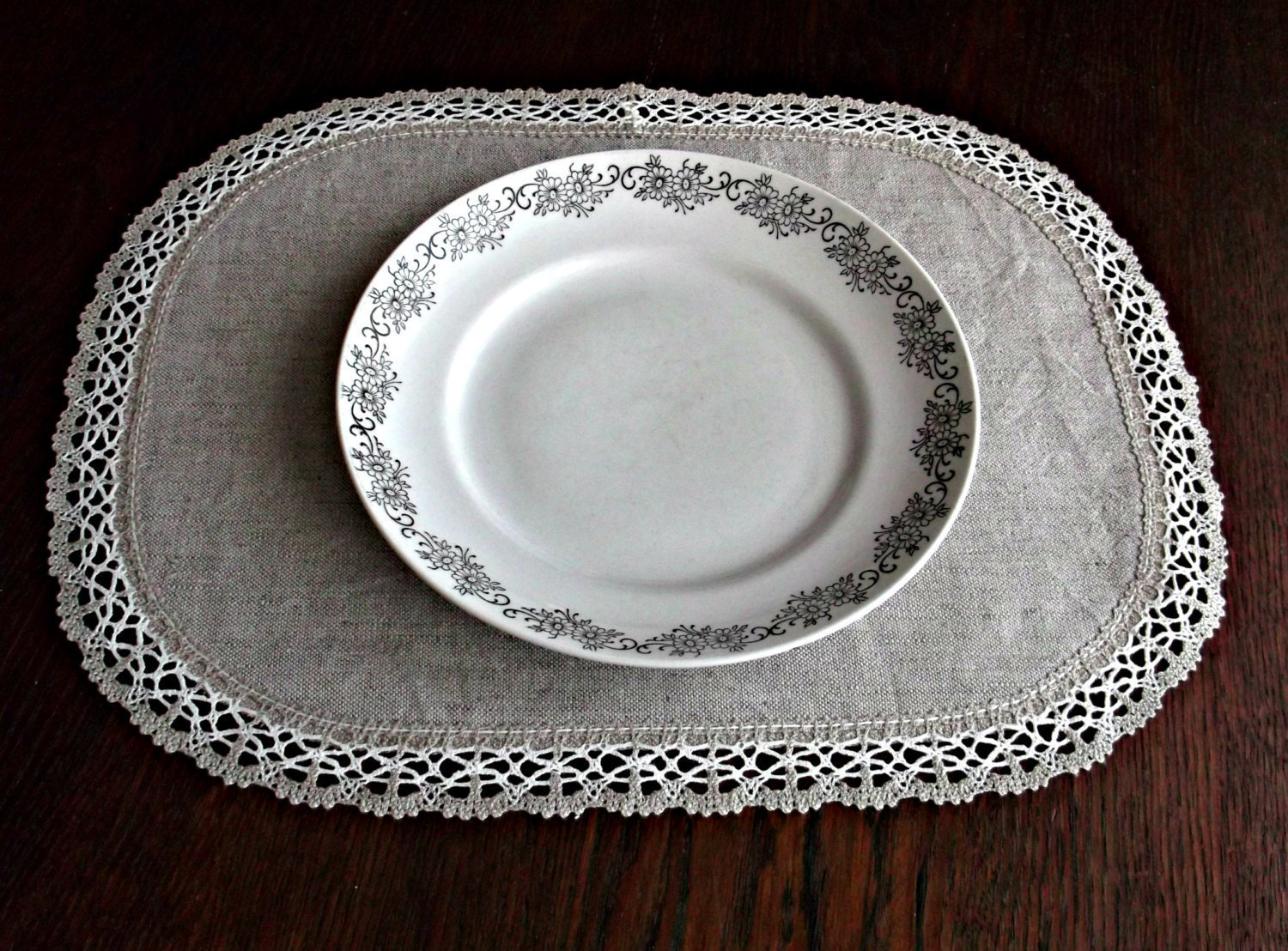 Oval Linen Lace Placemats Light Grey Table Mats Set Of 4