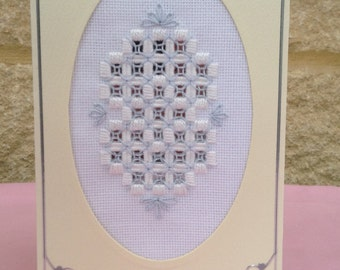 HANDMADE HARDANGER CARD - Best Wishes - Cream card, oval with blue and white