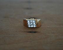 Vintage 18KT 18Karat HGE Seta  Gold Electroplate With Round Cut CZ Cubic Zirconia  Cluster Masculine Handsome GentlemanMen Man Ring Size 8