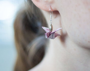 Origami Drop Sparrow Earrings - Origami Earrings - Rose Pink