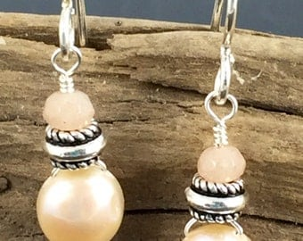 Freshwater pearl and moonstone earrings