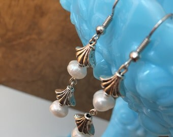 Genuine Freshwater Pearl & Silver Dangle Earrings--beaded--preppy--gifts for her--bridal--wedding jewelry