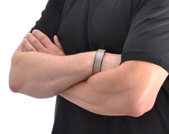 Mens Leather Bracelet / Gray Leather Bracelet For Men, Leather Cuff Bracelet / Leather Band Bracelet, Mens Bracelet, Leather Wristband