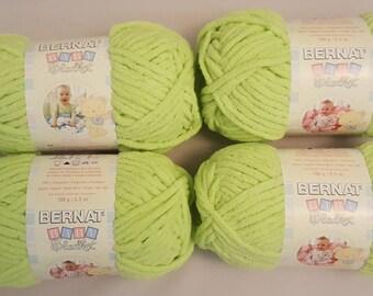 Bernat Baby Blanket LEMON LIME Yarn 3.5 oz Lot of 4 Skeins
