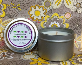 Soy Candle Essential Oil Lavender-Lime Tin Container Candle Handmade