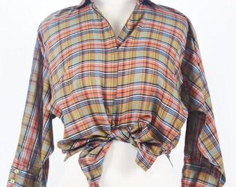 Vintage 70's Diane Von  Furstenberg Plaid Shirt