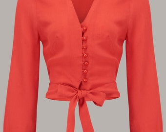 40's Vintage Inspired 'Clarice' Blouse in 40's Red