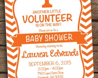 Tennesse Volunteer Baby Shower Invitation Birthday Party - Printed or Printable