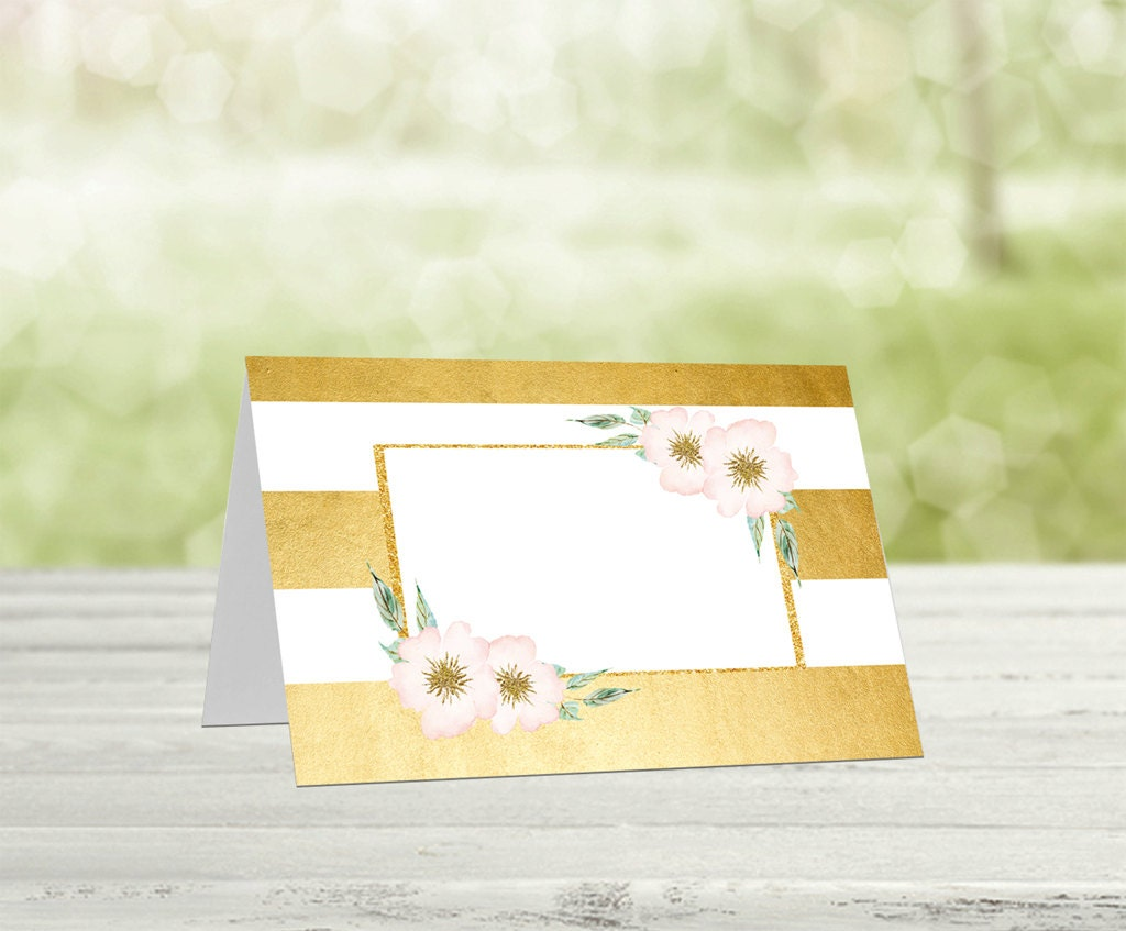 Gold printable food tent cards baby shower food tent cards for Printable tent card