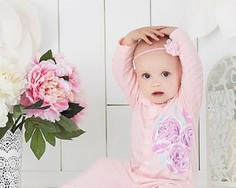 Baby girl peach romper