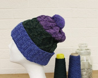 Merino Pom Beanie Hat Purple