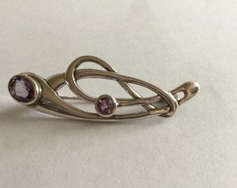 Vintage Silver & Amathyst Pin Brooch - Mint Condition