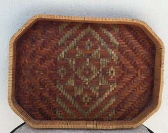 Vintage Rattan Tray, Wood base tray, Circa 1950