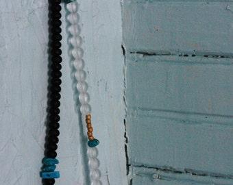 Dark Light Turquoise Art Statement Yoga Necklace