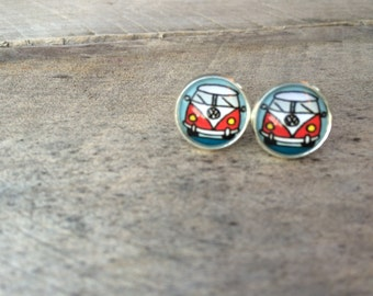 Earrings, glass cabochons, buttons!