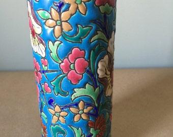 Longwy France 1952 Floral Pattern Cylindrical Vase Vintage French Pottery Floral Vase