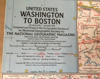 1962 National Geographic Map Washington to Boston. Vintage Map US