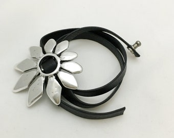 Black Leather Wrap Bracelet with Silver Flower Medallion