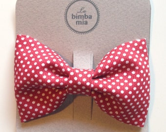 Red polka dot fabric bow hair clip, large/red polka dot Fabric Hair Bow Clips, Large