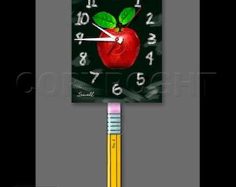 Teacher's Clock with Swinging Pencil Pendulum • Chalkboard Clock