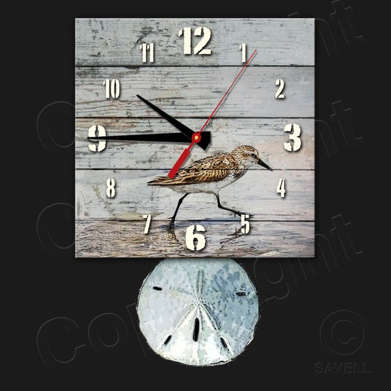Sandpiper Beach Clock with Sanddollar Pendulum • Beach Clock