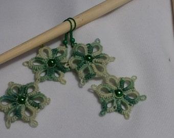 Tatted flower earrings - tatting jewelry green