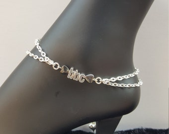 BBC/Hotwife Anklet Double Chain Silver Plated Hematite Heart Stones