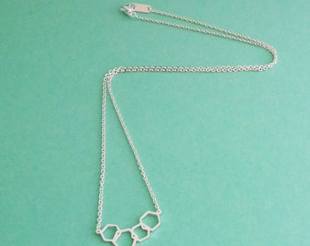 Geometric Honeycomb Necklace - Gold or silver plated