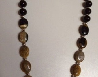 brown agate and onyx necklace