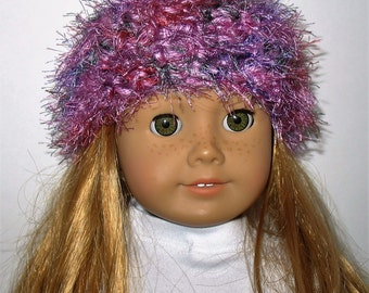 """18"""" Doll Clothes fit American Girl Crocheted Wild & Crazy Fun Fur Hat ORCHID Blend"""