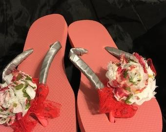 Silver-Coral Flower Flip Flops