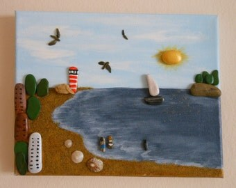 The Lighthouse Beach. Picture of painted stones, artistic composition, mixed Assembly, natural materials, unique, gift, ornament