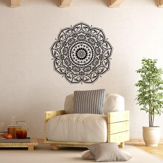 Yoga Studio Wall Decor : Wall decal mandala vinyl yoga studio decor by