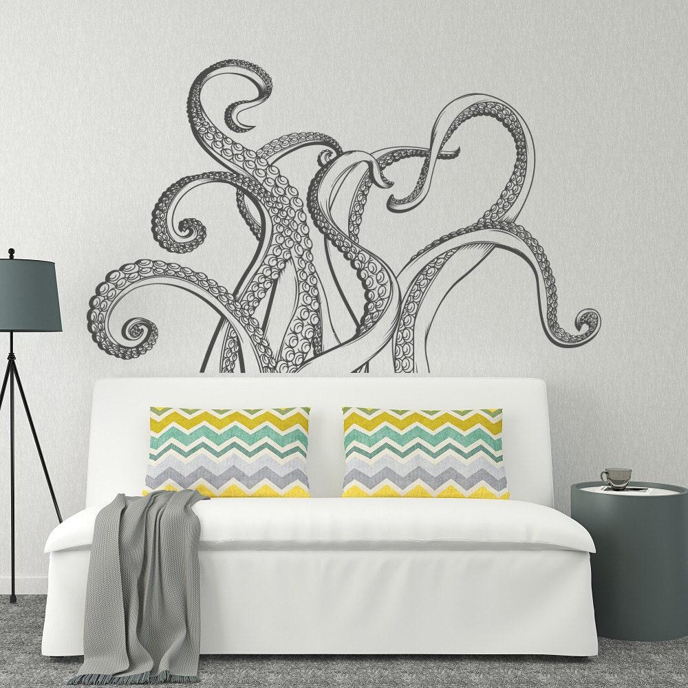 octopus tentacles wall decal octopus kraken vinyl by homyvinyl. Black Bedroom Furniture Sets. Home Design Ideas