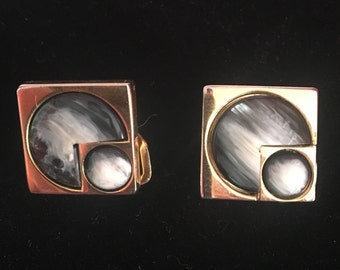PacMan style vintage clip on earrings with inlaid carved shell, superb condition