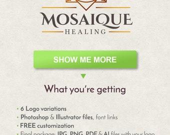 Lotus Logo, Mandala Logo, Yoga Logo, Flower Logo, Mosaique Logo, Therapist Logo, Custom Logo Design, Logo Template, Premade Logo