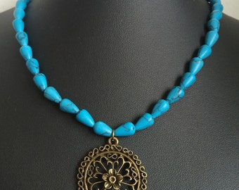 Teardrop Turquoise Flower Charm Necklace