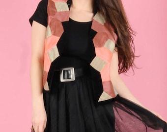 80s Pink Patchwork Velvet Vest