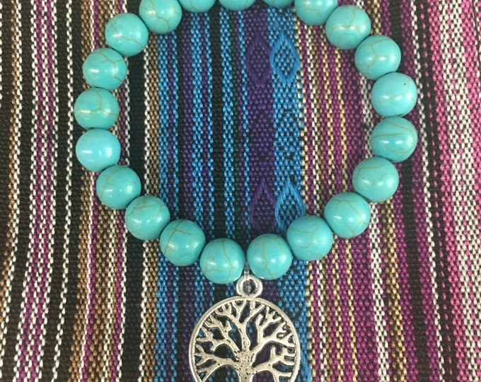 Tree charm of wisdom, on a Turquoise Healing Bracelet with Tree Charm       Natural Stone Healing Jewelry Positive energy