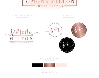 Branding Kit, Branding Package, Premade Logo, Watercolor Logo, Logo Design, Rose Gold Logo, Calligpaphy Logo, Photography Logo, Wedding Logo