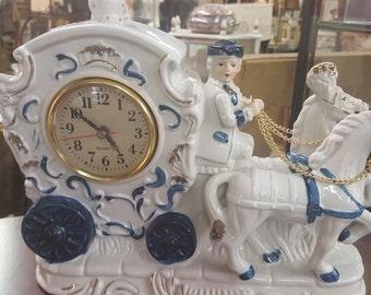 White Ceramic Horse and Carriage  Quarts Clock