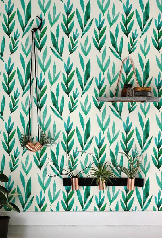 Green Watercolor Leaves Removable Wallpaper Self Adhesive